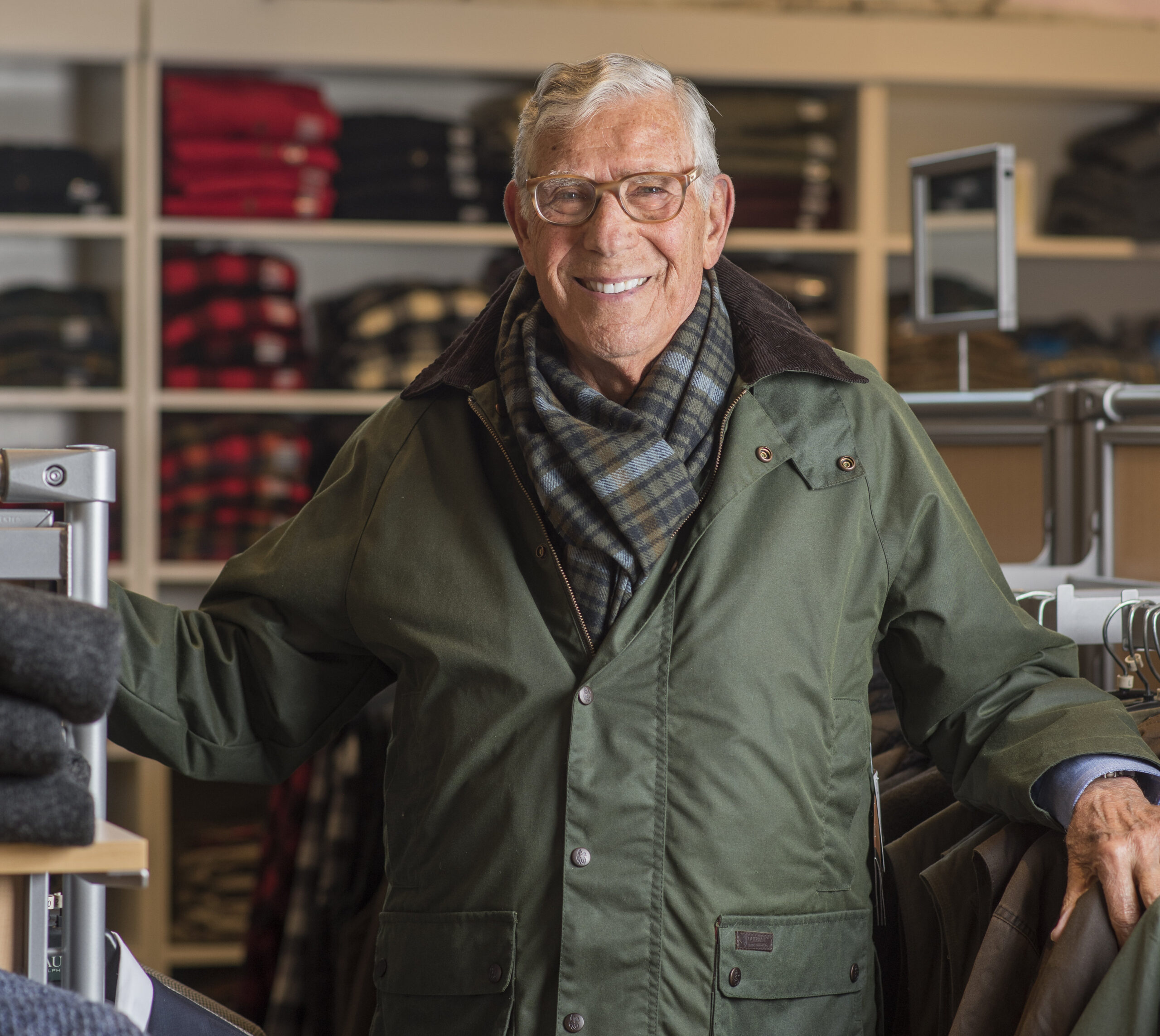 Owner Dick Schreiber wearing classic outerwear