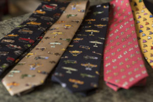 Close up of colorful men's ties