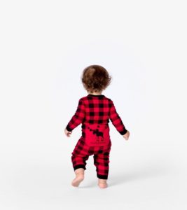 Image of toddler in flannel pajamas, onesie