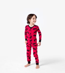 Image of young boy wearing flannel pajamas