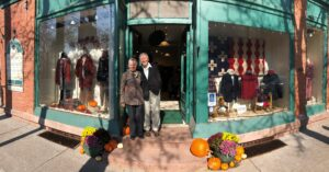 photo of Barbara and Dick Schreiber at the front door of Rhinebeck Department Store